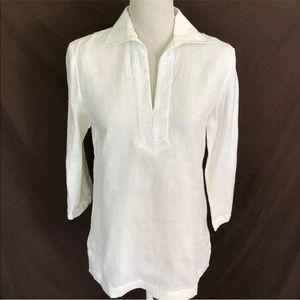 Lauren Ralph Lauren Linen White Linen Tunic Top S